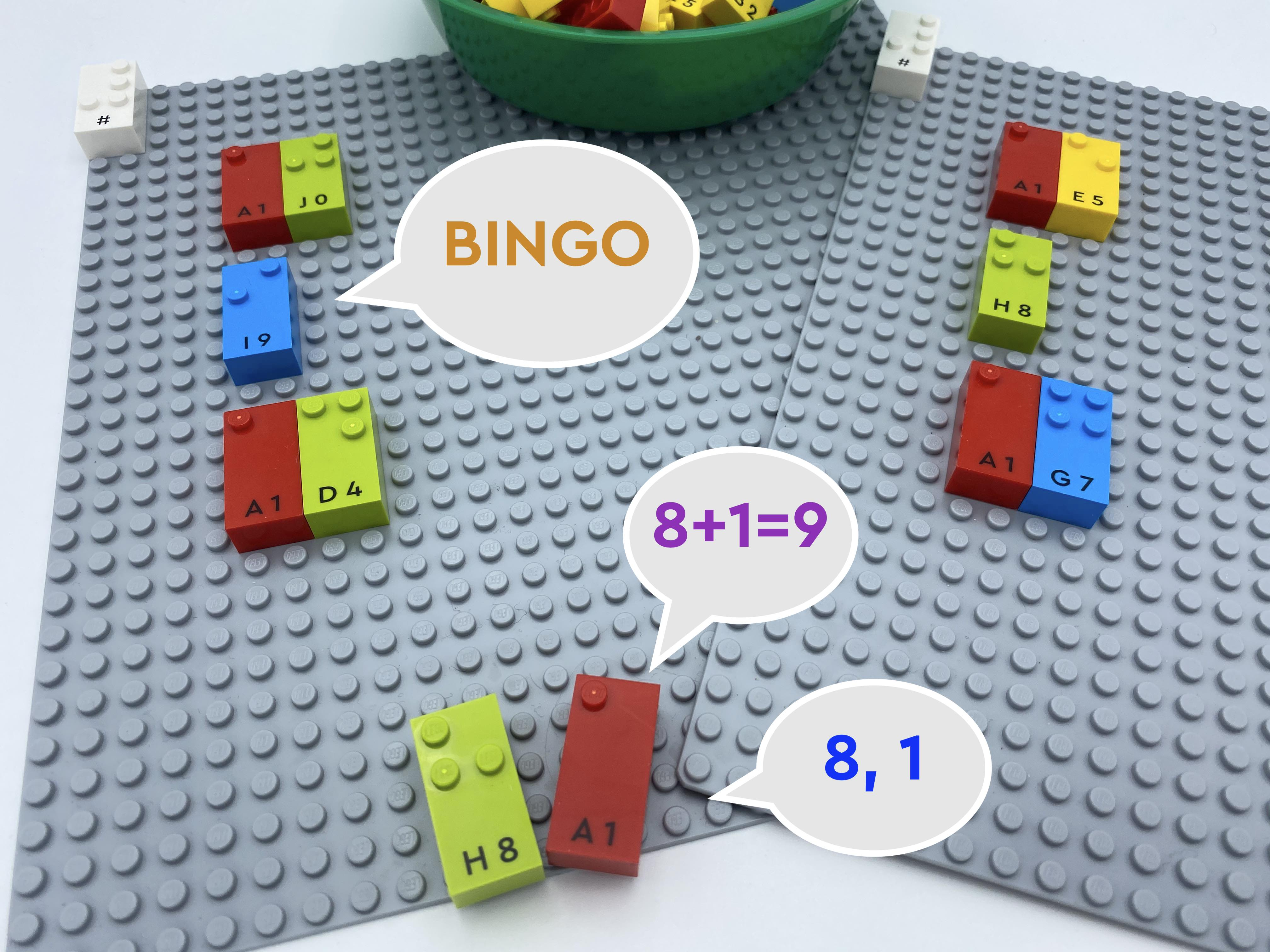Number bricks 8 and 1. One bubble speech says 8, 1,  another says 8+1 =9, a third one says BINGO