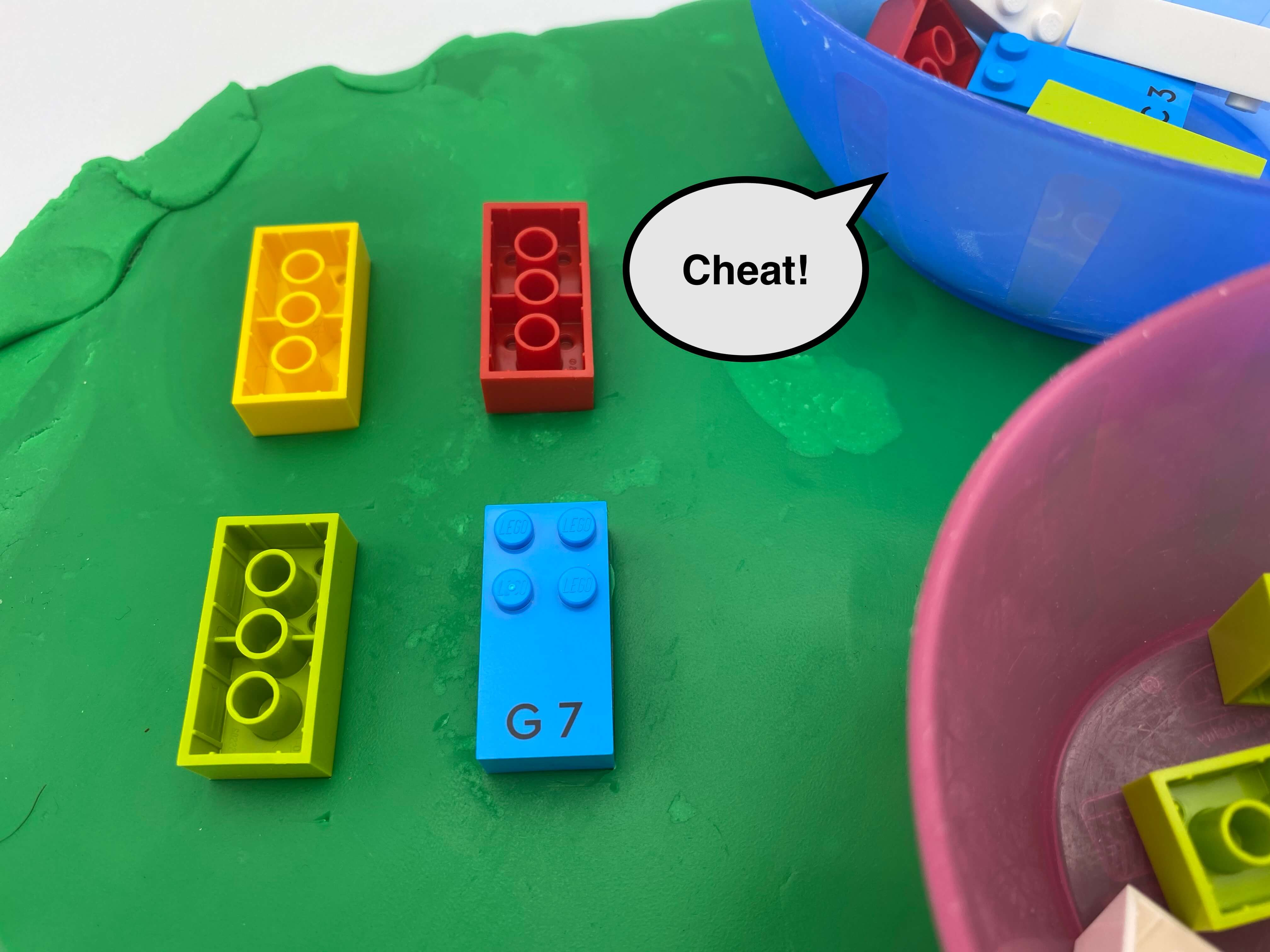 "3 brick upside down on a flat piece of Play-dough, 1 letter bricks g,  a speech bubble saying ""cheat"", 2 bowls with bricks inside."