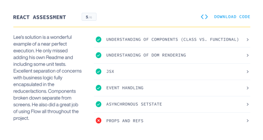 Screenshot sample of G2i's React assessment and score