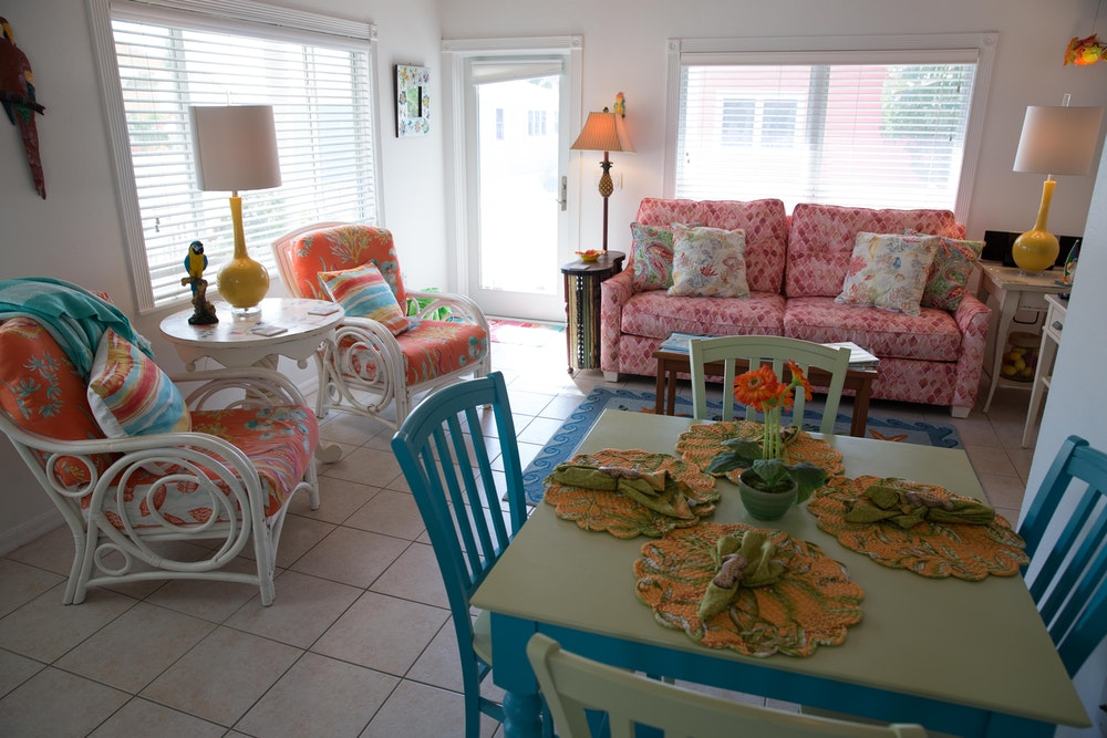 Air BNB Cottage- island Cottage-living-room-facing-gulf