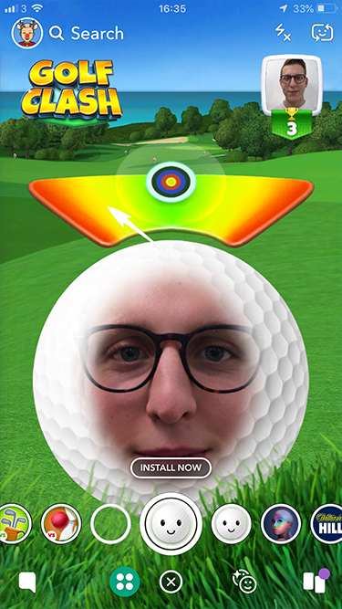 Golf Clash drove 10k app downloads 37% above target ROAS using Snapchat AR Lenses
