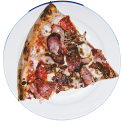 Mozzarella cheese, Pepperoni, Italian Sausage, Ham, Genoa Salami and Applewood smoked bacon on our red sauce base.