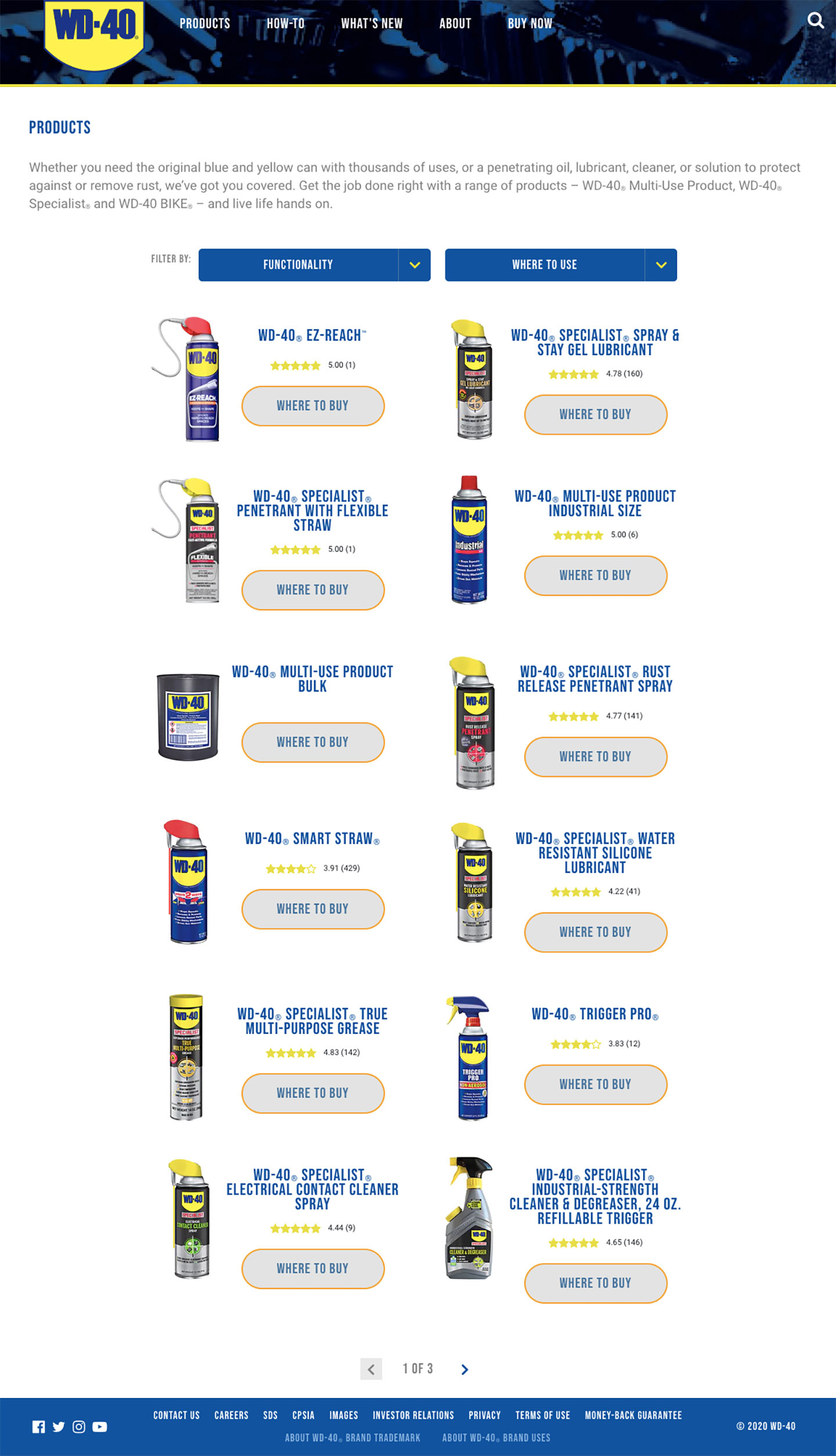 A screenshot of WD-40's website's product browse page.