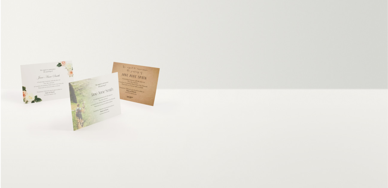Three printed card invitations in different designs