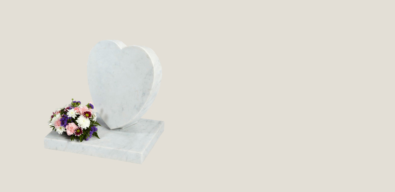 Sloping white marble heart plaque