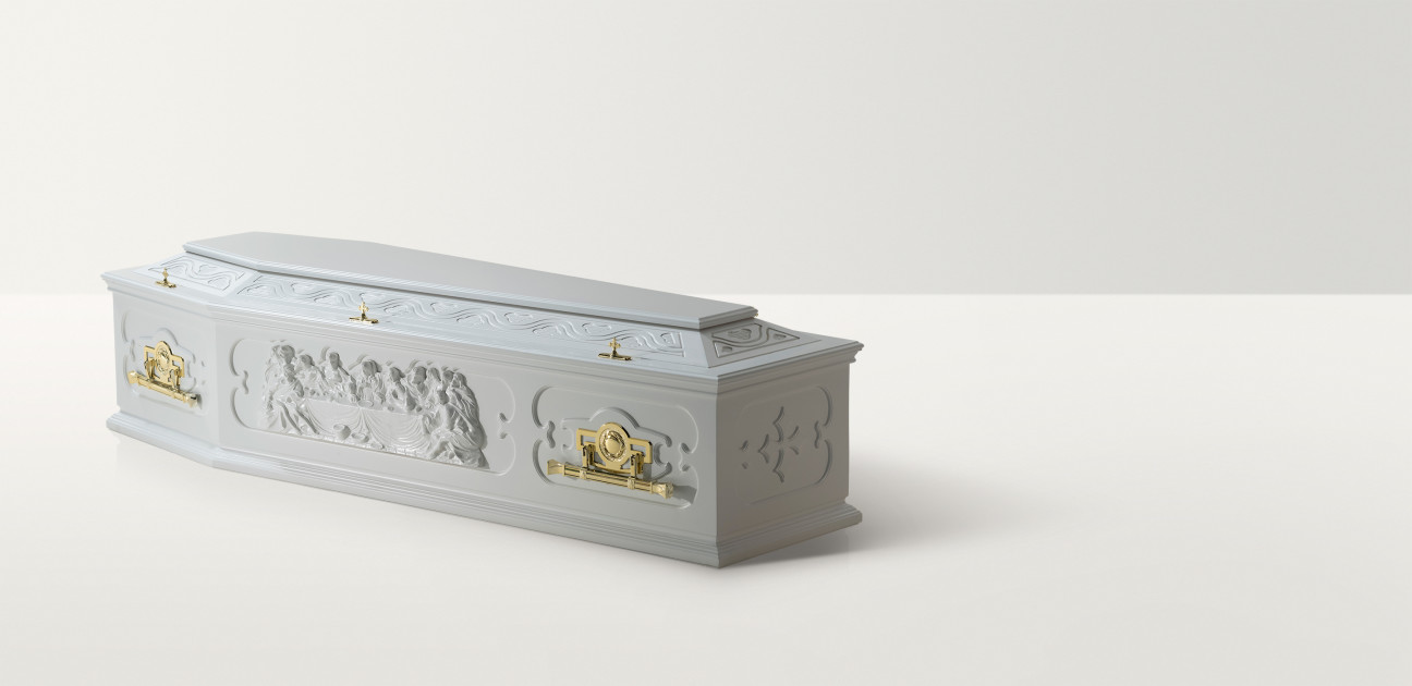 Full length image of the last supper coffin in white with brass handles