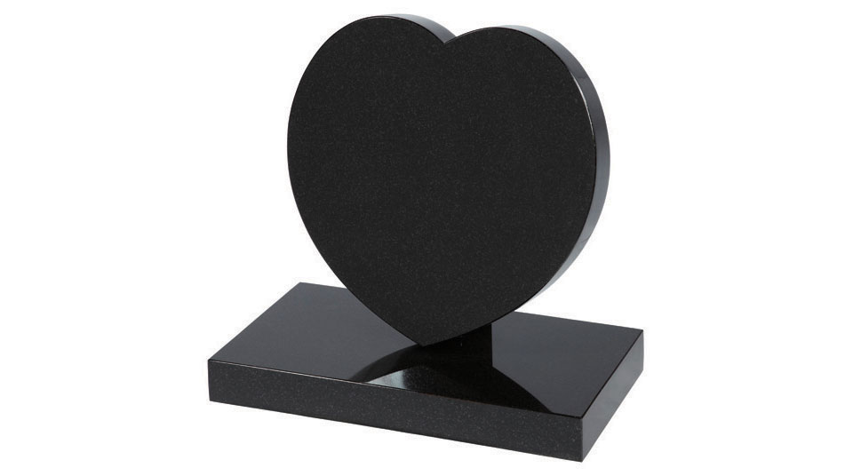 Sloping granite heart plaque