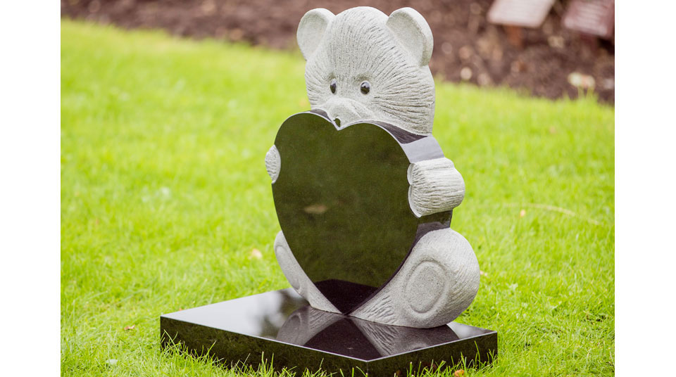 Heart shaped teddy bear memorial