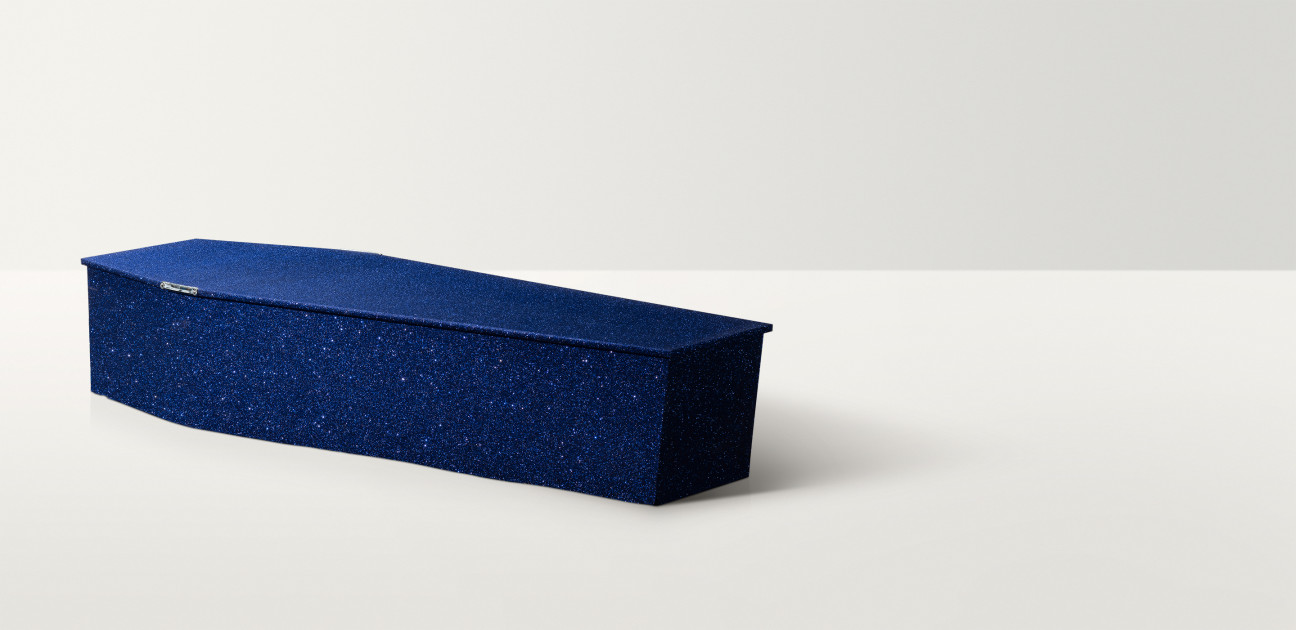 Midnight blue coloured coffin with silver glitter