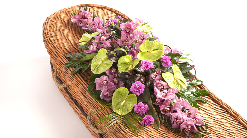 Orchid coffin spray