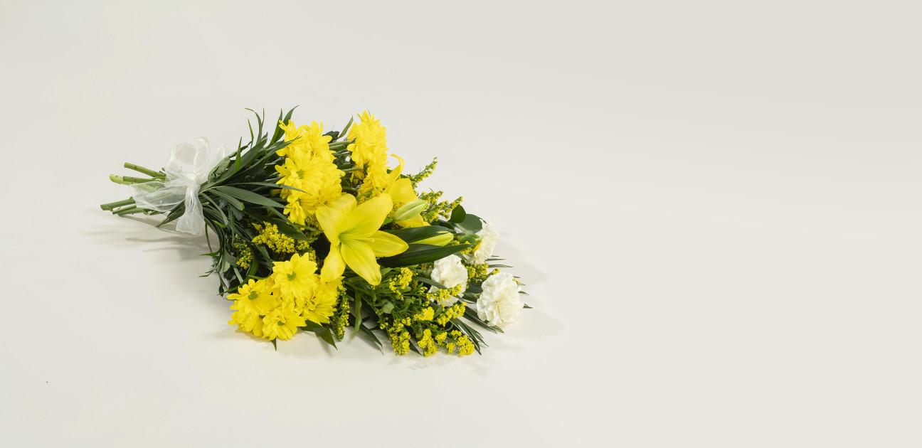 Sunshine yellow sheaf floral arrangement