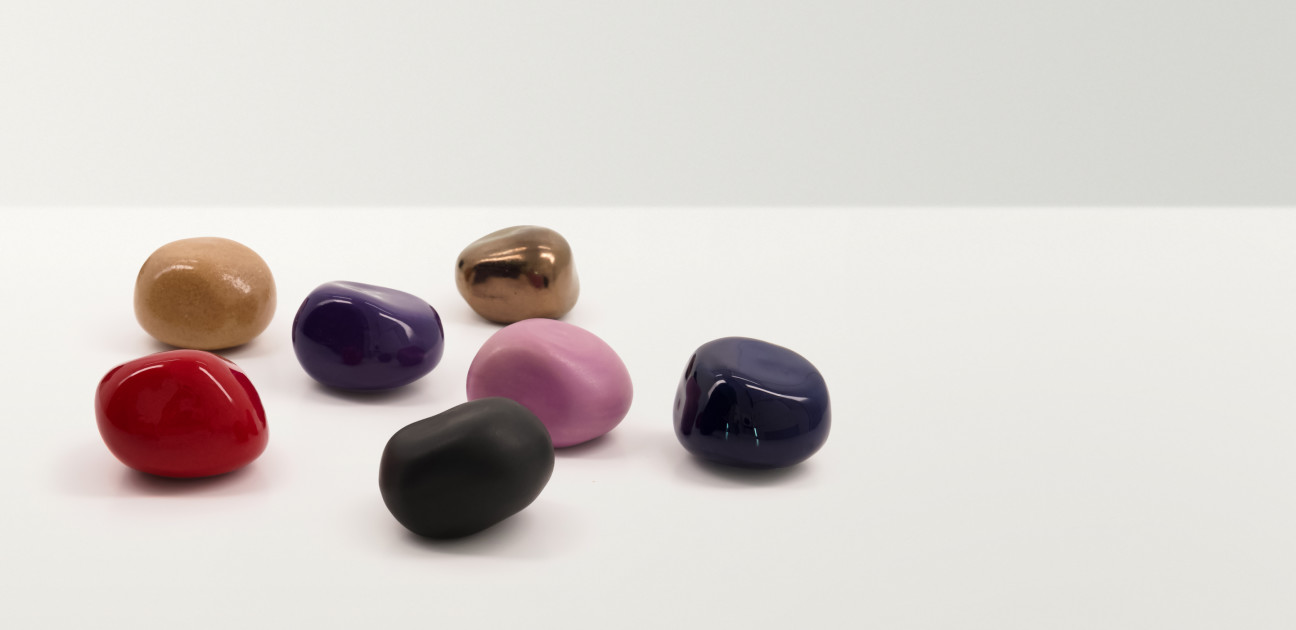 Irregular shaped smooth stones in a variety of colours
