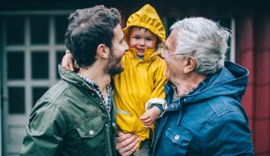 Dad, son and grandchild out in their rain coats.
