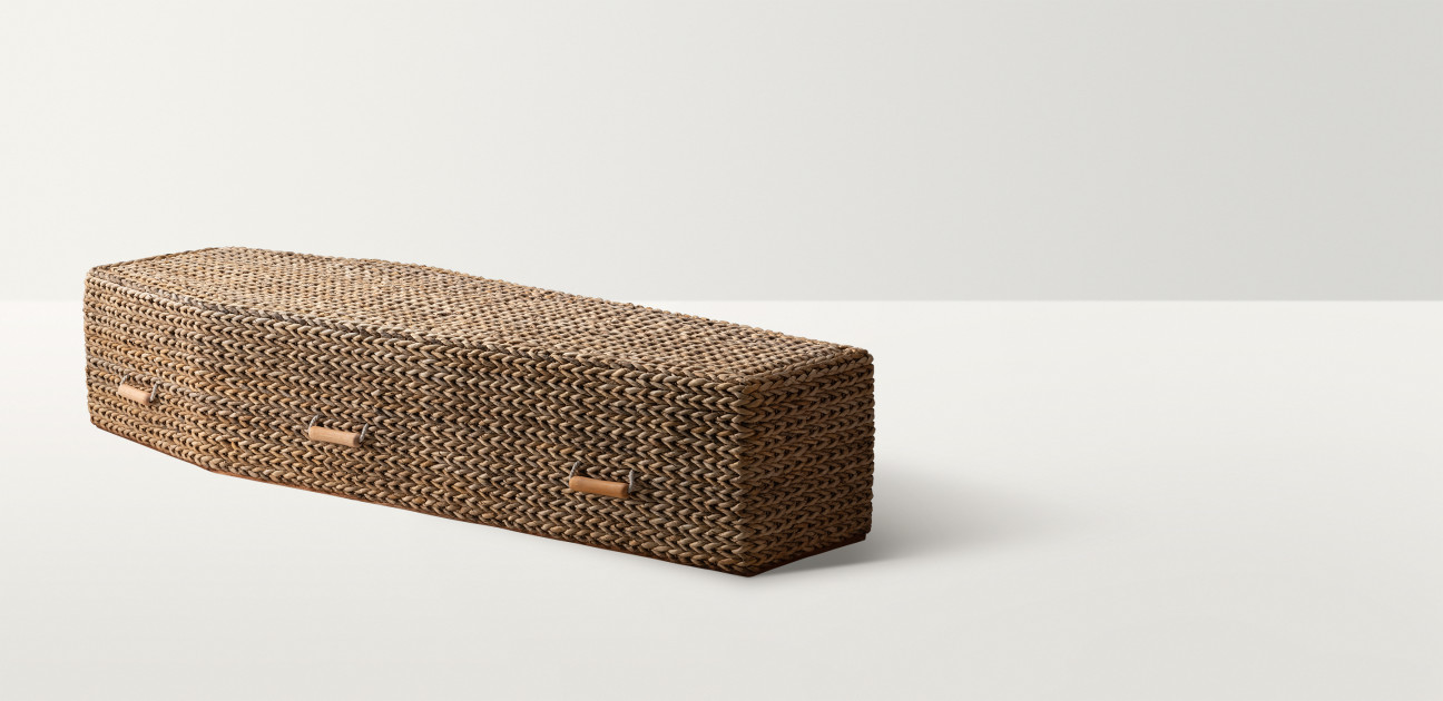 Woven water hyacinth coffin