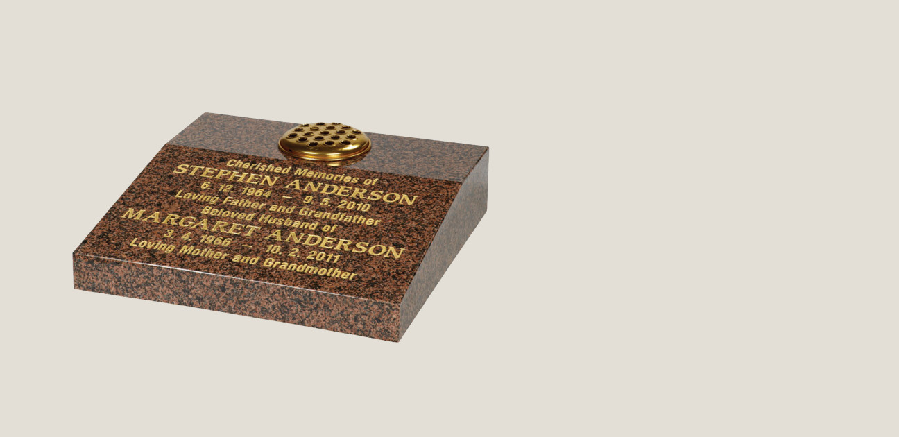 Balmoral tablet memorial in brown stone with gold inscription