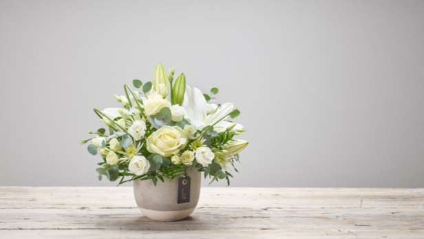 elegant sympathy arrangement in a pot