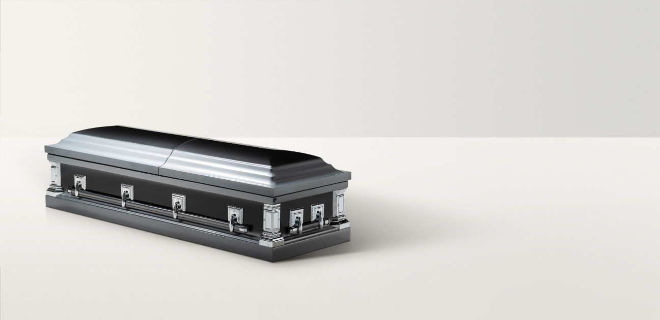 Closed twilight silver coffin