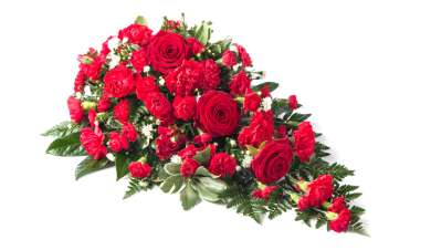 rose carnation spray with red flowers