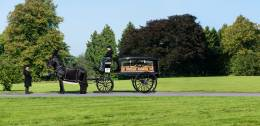 Glass horse drawn hearse with a coffin inside stopped in parkland with a black horse and attendants