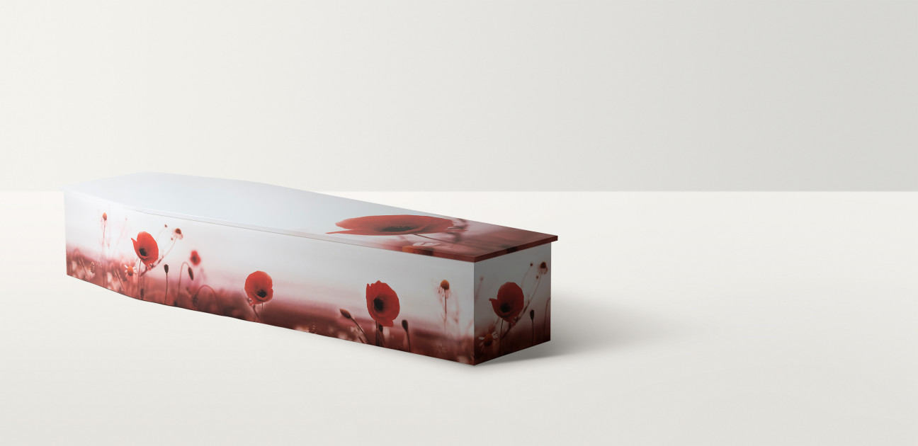 Standard shaped coffin with poppy images