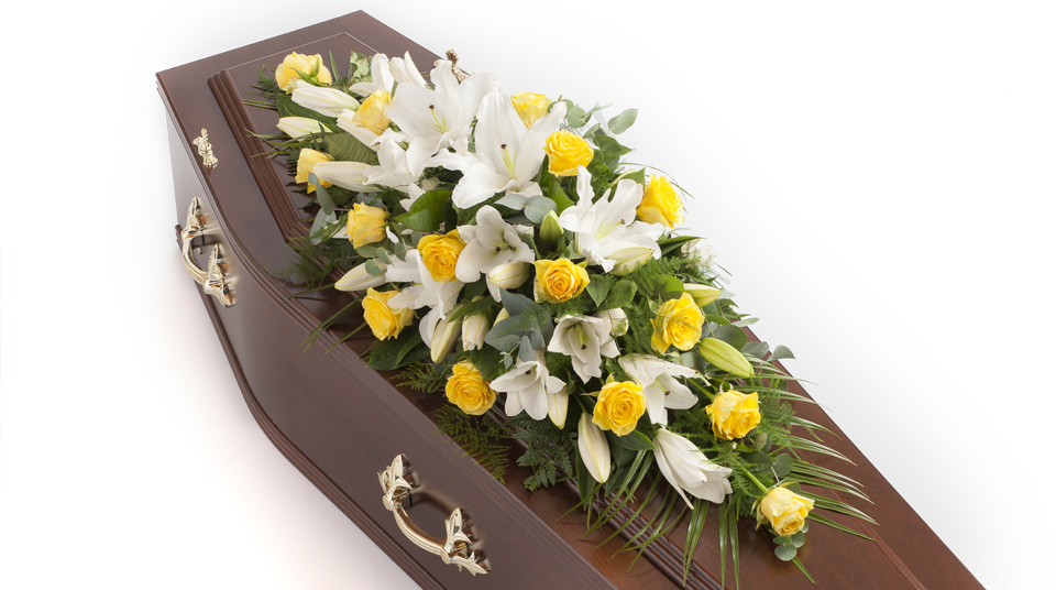 Rose, Lily & Calla coffin spray