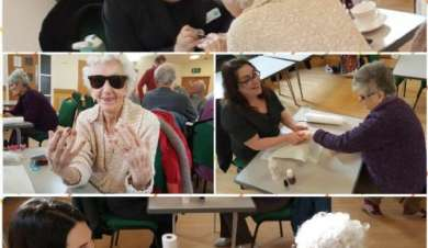 Dementia patients having a pamper afternoon.