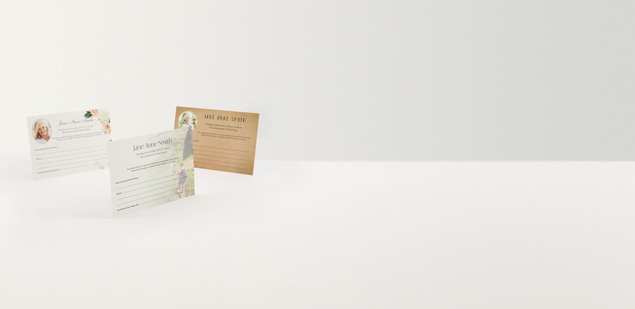 Three attendance cards with a variety of designs