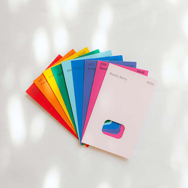 Fan of coloured cards
