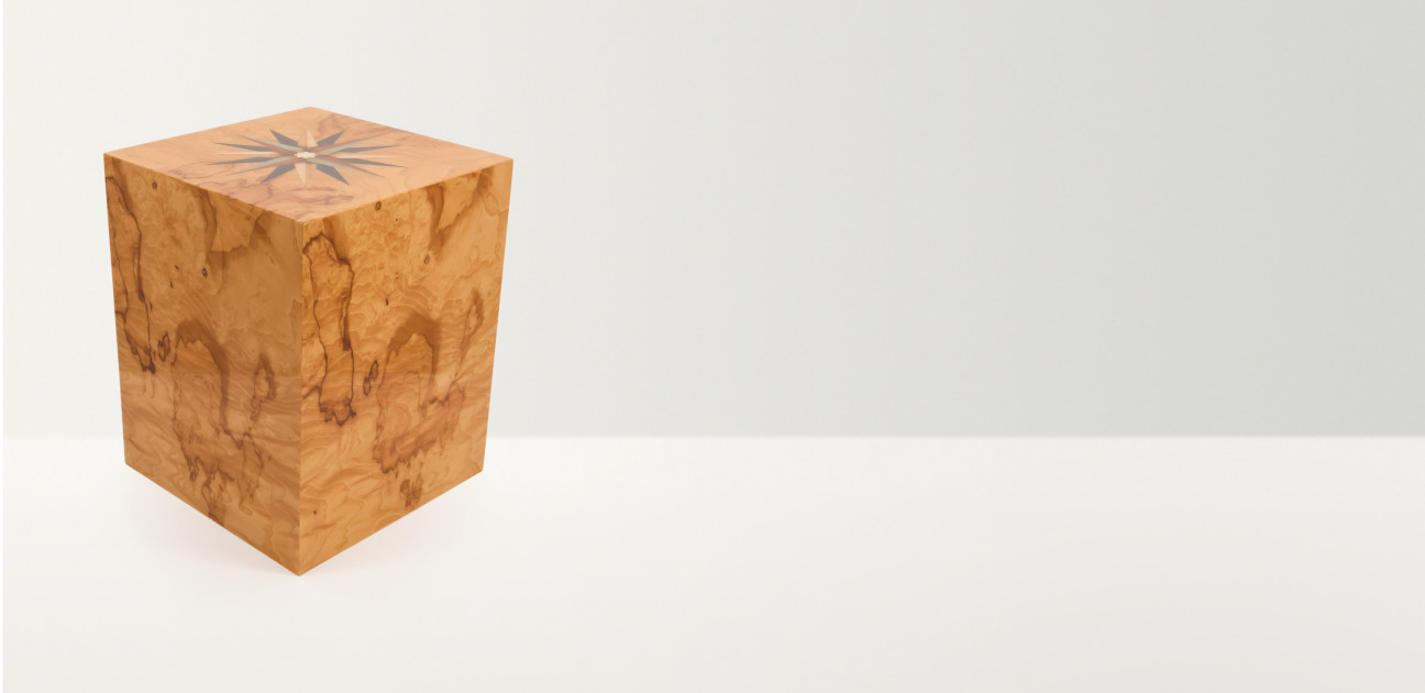 Square wooden box with inlaid star decoration on the lid