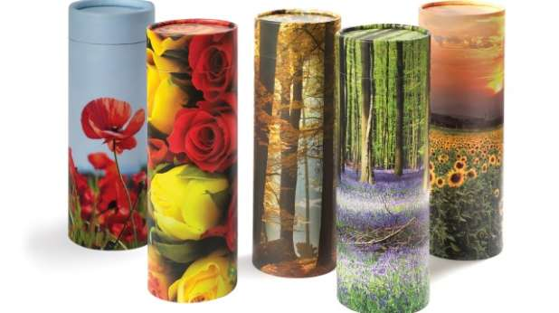 5 scatter tubes with different floral designs.