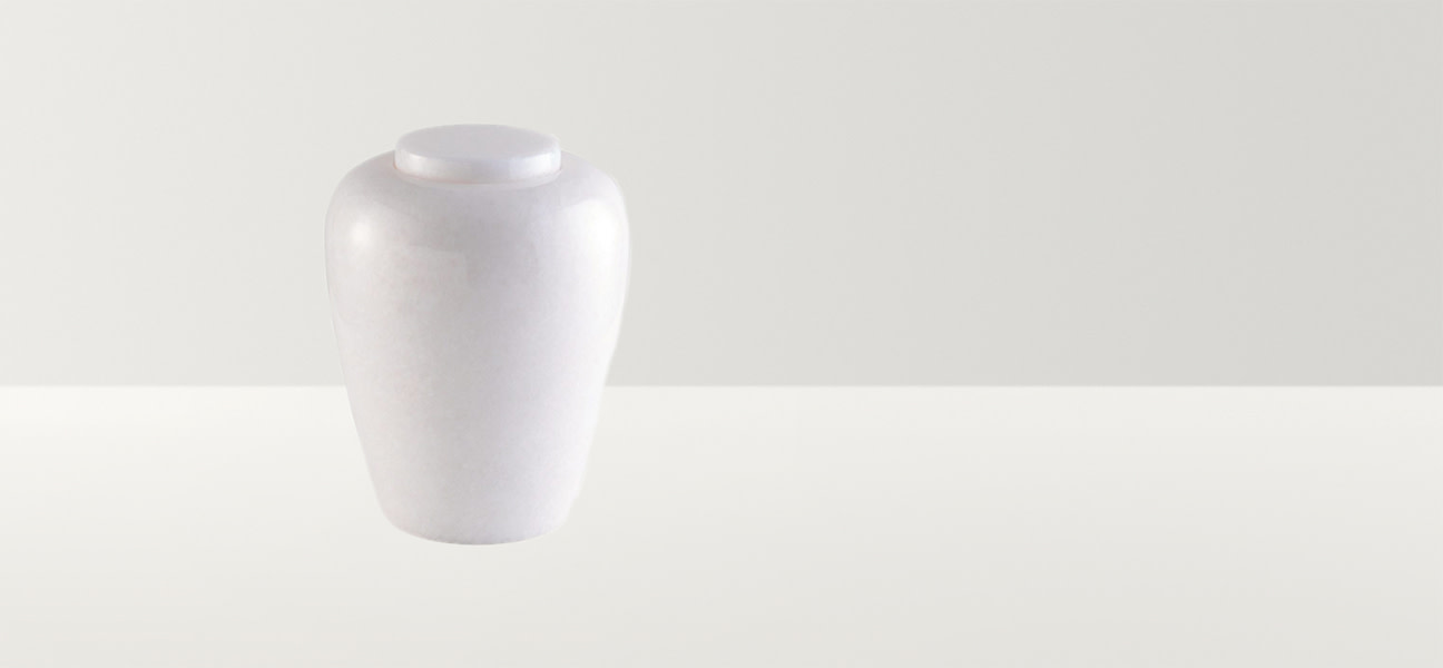 White marble smooth urn