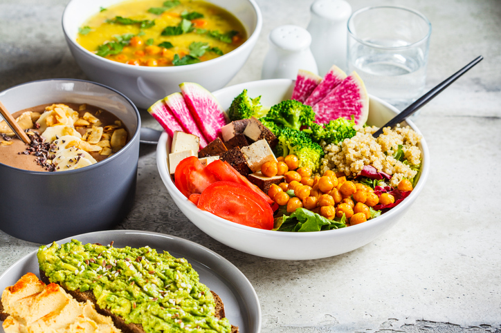 A table of healthy bowls of food