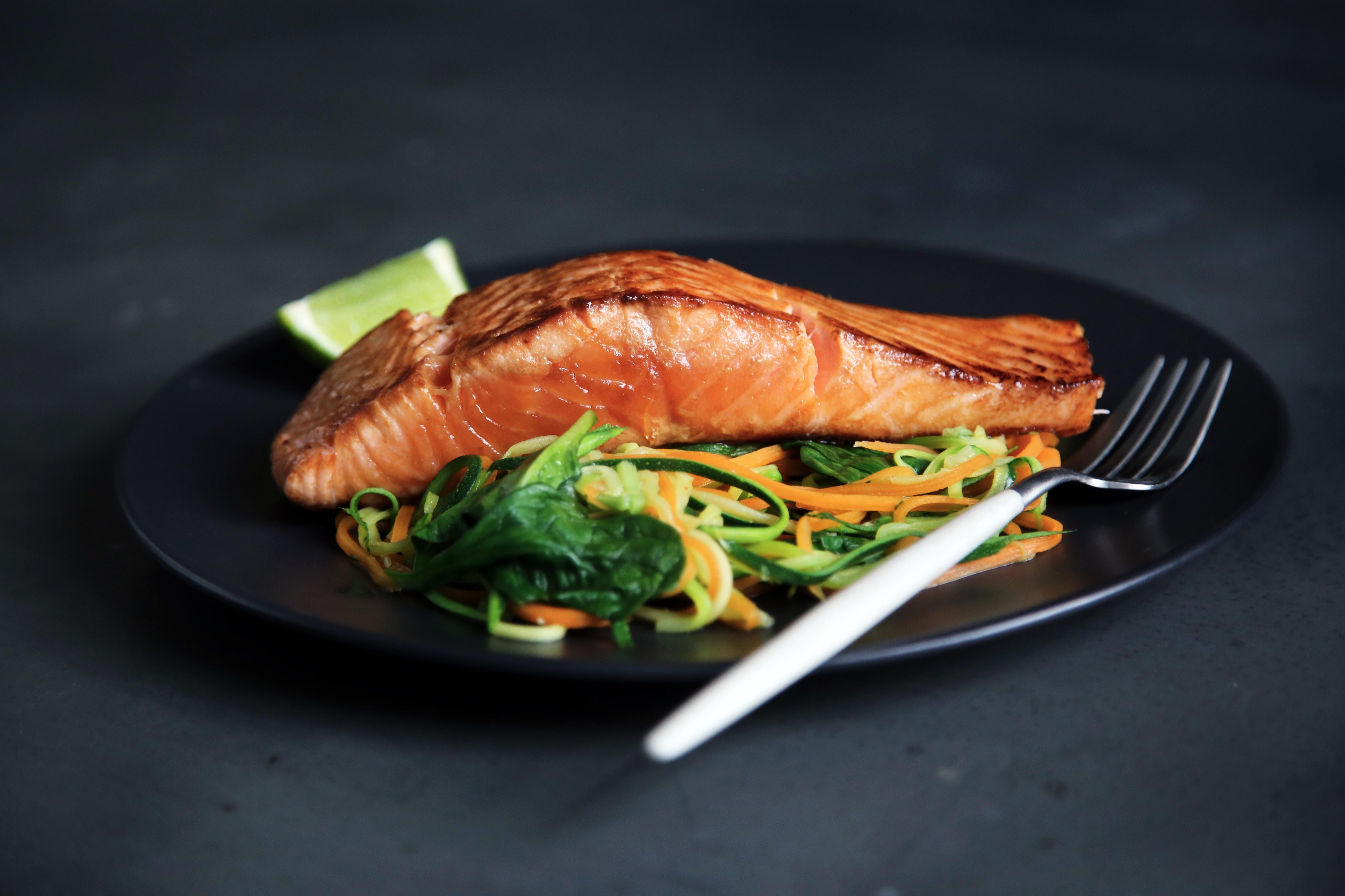Meal of salmon and salad