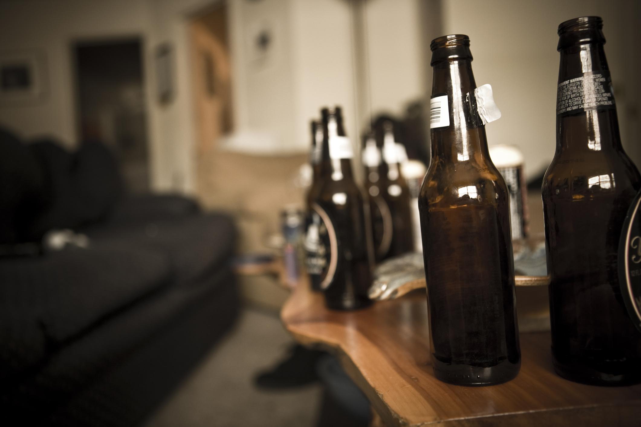 Alcohol beer bottles