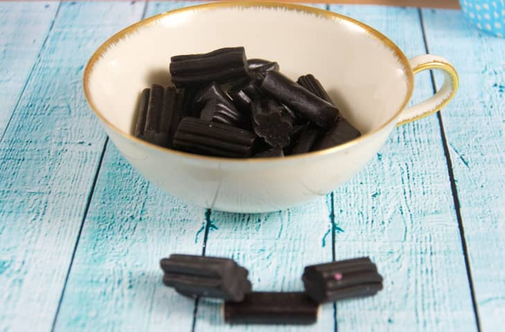 Cup of liquorice sweets