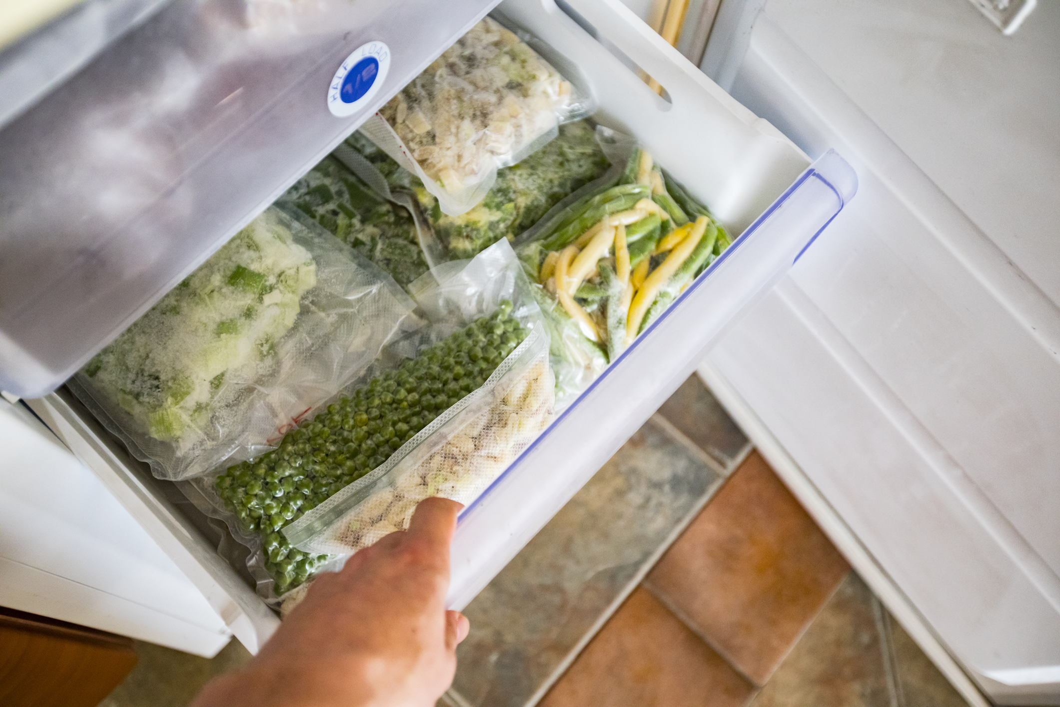 Freezer Drawer With Packed Vegetables