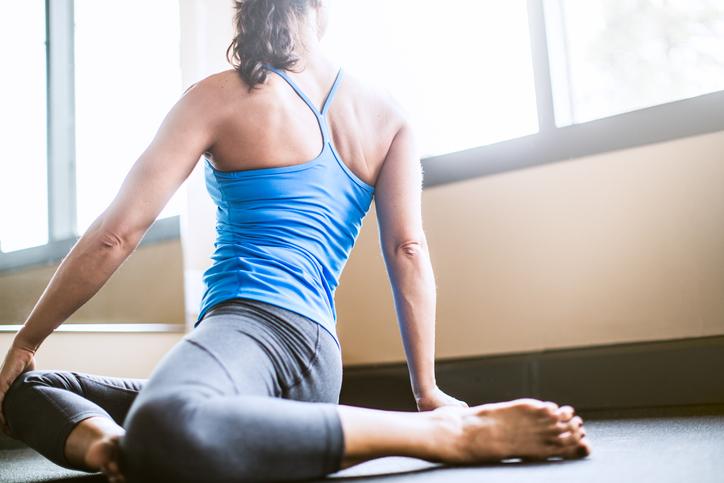 Sage Pose in Yoga Studio