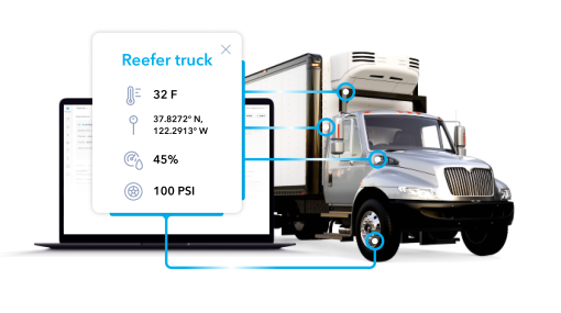 A laptop reporting reefer truck vitals