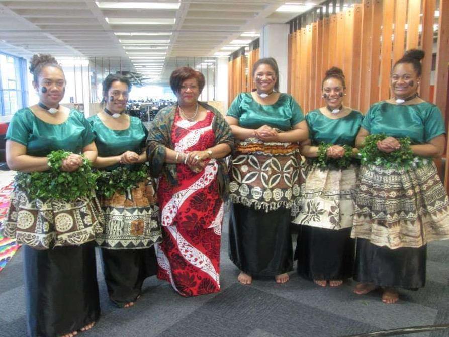 Group of six Fiji women in traditional dress