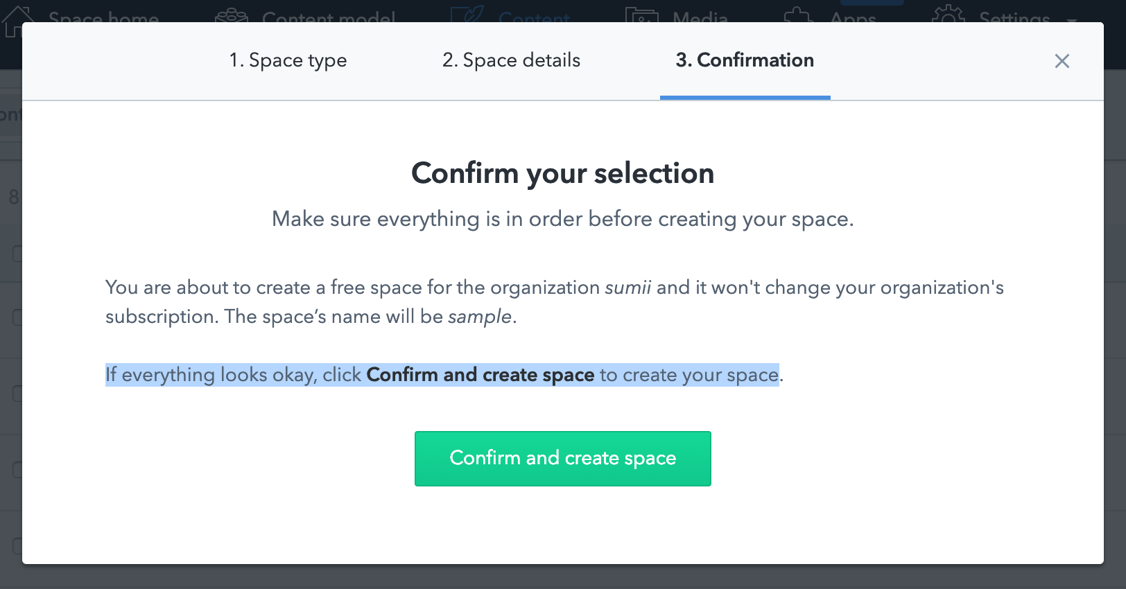 contentful-space-confirm