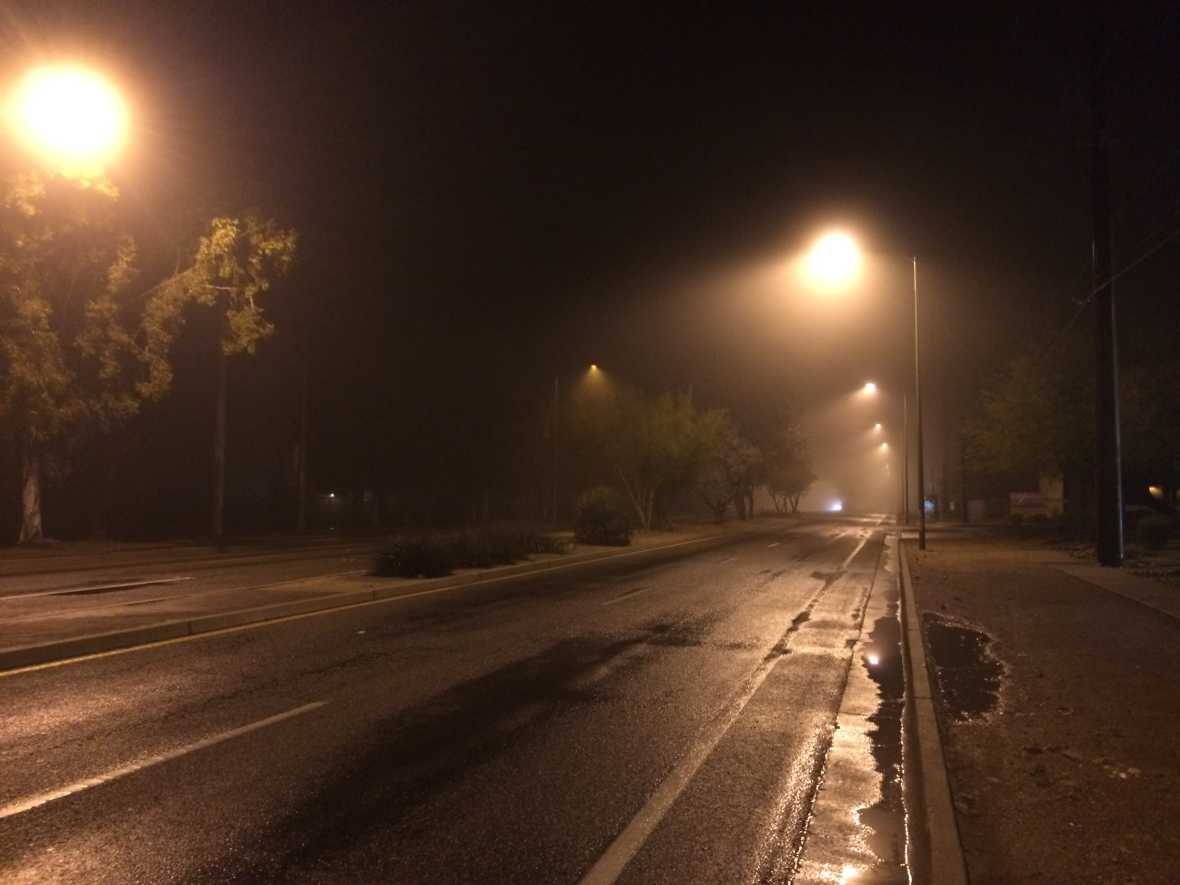 Foggy street early morning