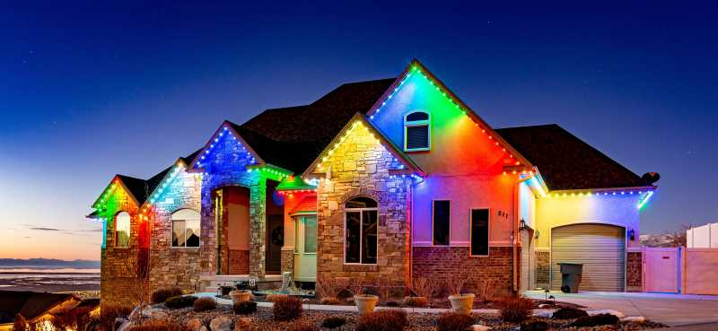 A Home with Trimlight lights installed