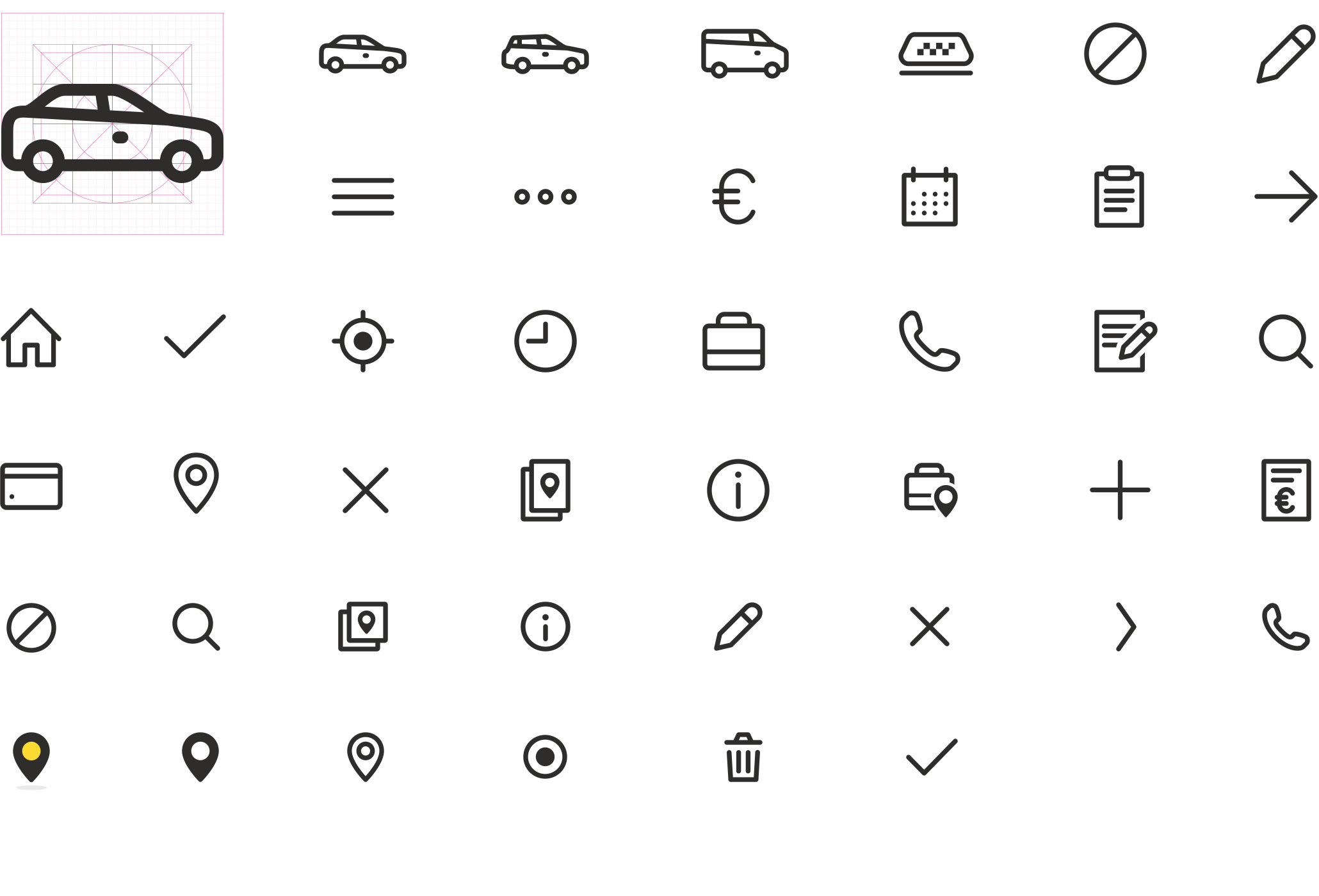 We created a fully customized icon set for Taksini which was converted into a font for easy implementation.