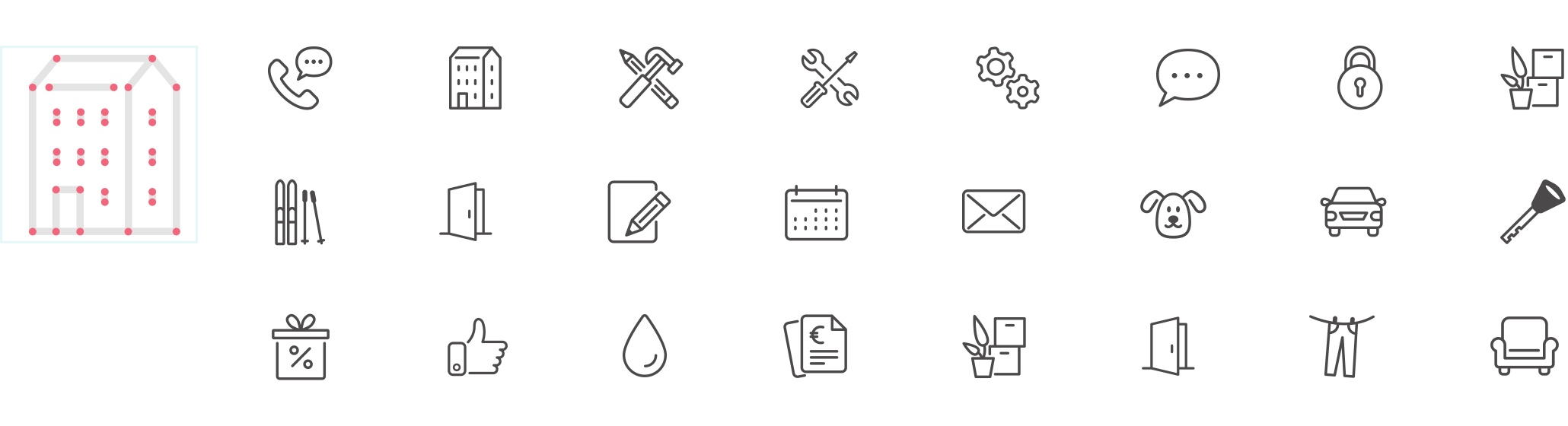 A custom icon set was created including 100+ individual icons.