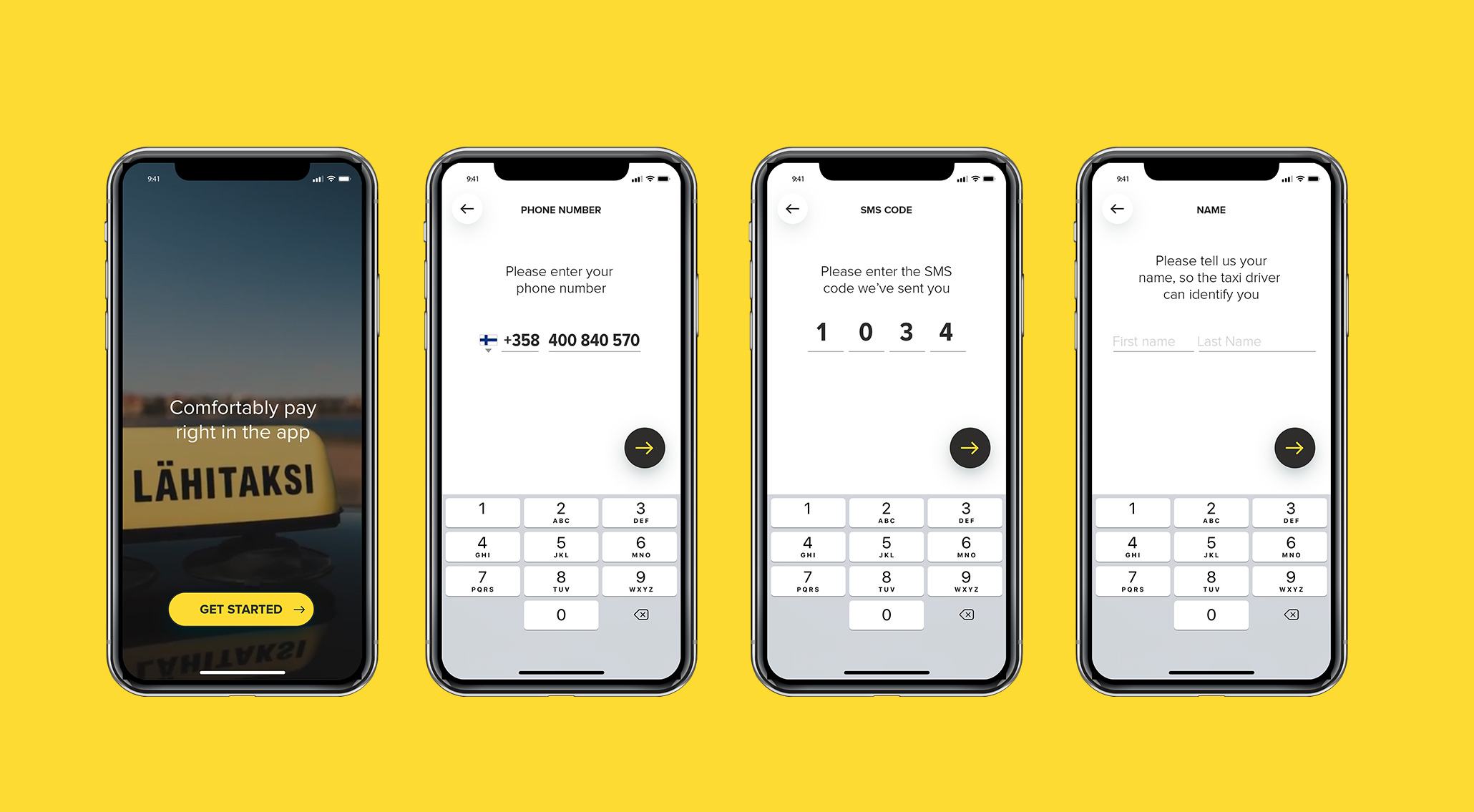 Modern onboarding without additional passwords for the user to remember. Instead app is activated using one time password sent to the mobile phone.