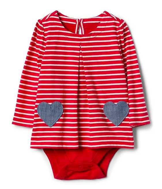 Striped heart onesie