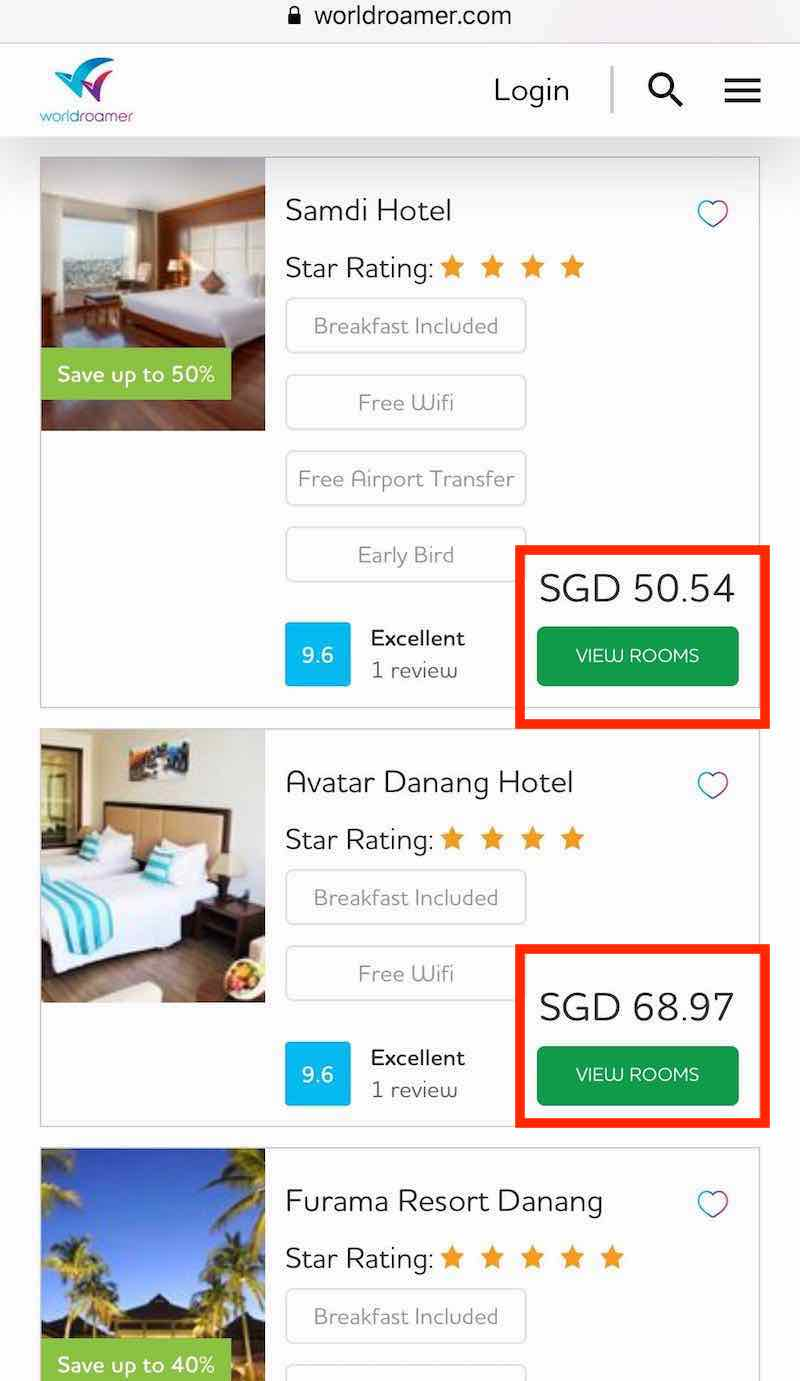 Pick the hotel you prefer (mobile)