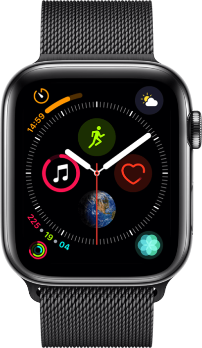 Apple Watch Series 4 4G 44mm Stellargrå Stainless Steel med svart loop