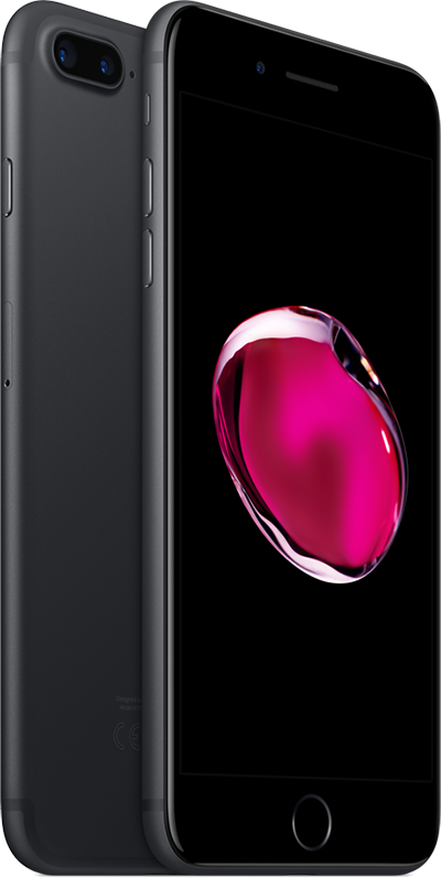Apple iPhone 7 Plus svart foran og bak