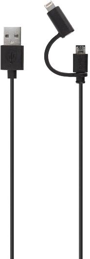 Xqisit Cable Combo Lightn/MicroUSB Black